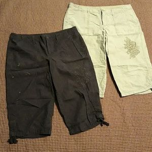 2 pair of Faded Glory capris tan and brown size 14